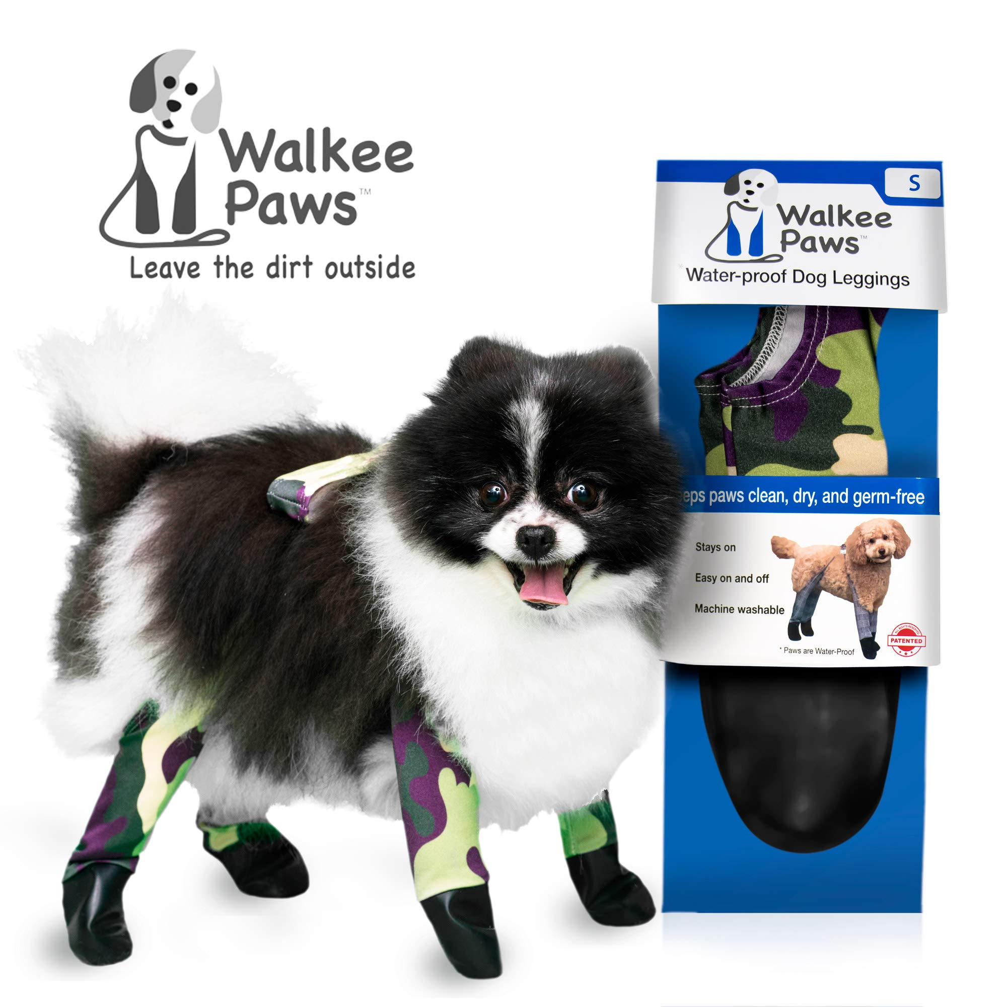 Walkee Paws Waterproof Dog Leggings - Keep Your Dog's' Clean & Dry Without The Hassle of Boots - Camouflage (Small) by Walkee Paws