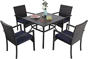 Sophia & William Outdoor Patio 5 Pieces Dining Set with 4 Brown PE Rattan Chairs and 1 Square Metal Table, Modern Outdoor Dining Furniture with Seat Cushions for Poolside, Porch, Patio, Balcony