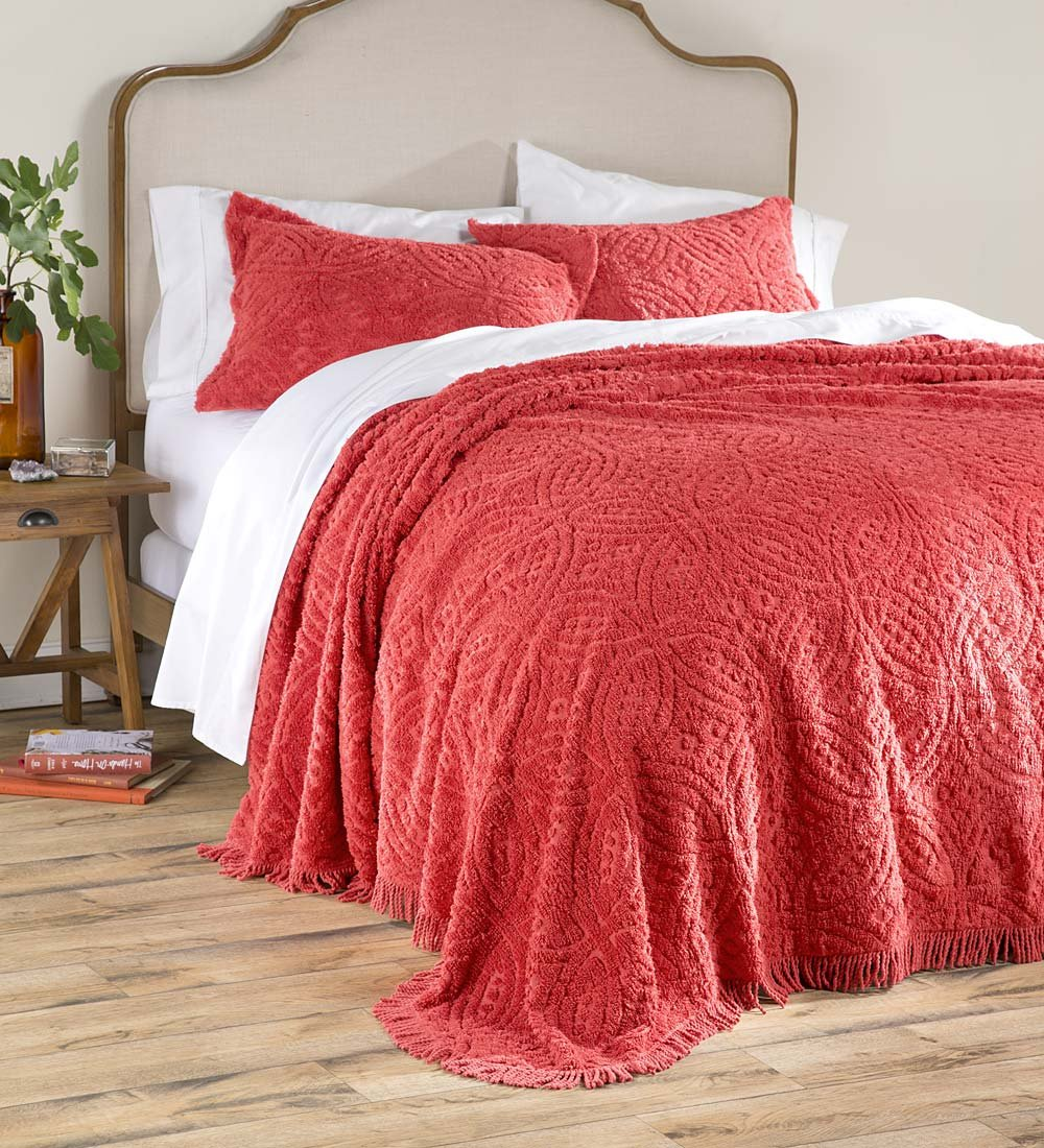 Plow & Hearth Tufted Chenille Cotton King Bedspread, Paprika by Plow & Hearth