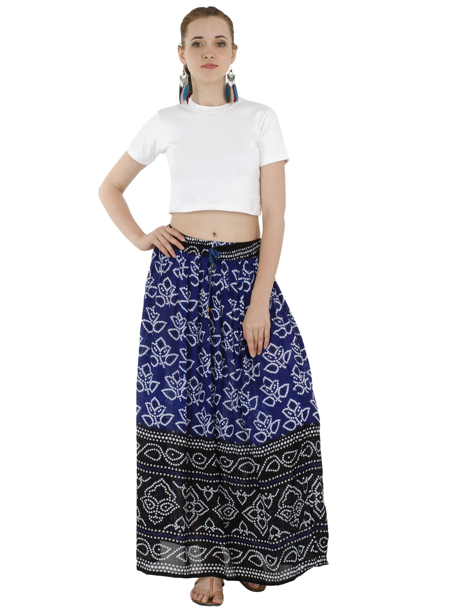 Women's Full Length Elastic Waisted Maxi Skirt Floral Print Long Skirts