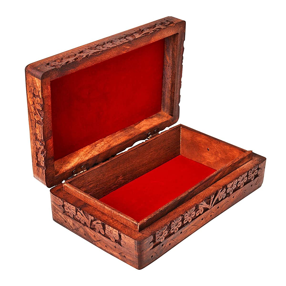Handmade Decorative Wooden Jewelry Box Jewelry Organizer Keepsake Box Treasure Chest Trinket Holder Watch Box Storage Box 8 x 5 Inches Birthday Housewarming Gift Ideas For Men & Women