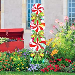 Christmas Grinch Outdoor Decorations-Outdoor Xmas Yard Signs Decorations-Candy Snowmen Tree Christmas Decorations Outdoor -New Year Giant Holiday for Home Lawn Pathway Walkway Candyland Party (Candy)