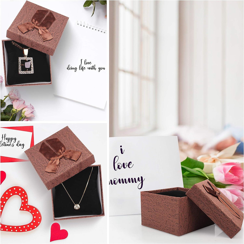 Collier Paquet Cadeau avec Couvercle /à N/œud et Coussin Noir pour Bracelet Anniversaire et Occasions Sp/éciales Lot de 12 Montre - Boite Cadeau Bijoux 9,5 x 9,5 x 6 cm Coffret Cadeau Vide