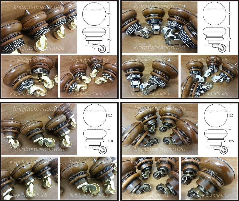 4 x Pieds de meubles en bois Marron antique-Canapé Pieds avec roulettes en laiton - chaises - Canapés - M8 (8 mm)