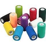 Vet Wrap Bulk, Bandage Wrap Vet Tape (2, 3 or 4 Inch), Assorted Colors (Pack of 12 or 6), Waterproof Self Adherent