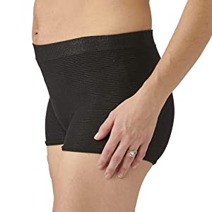Medline Postpartum Underwear for Women, Comfortable Knit Material is Seamless with Extra Stretch, Black, Medium/Large (Pack of 2)