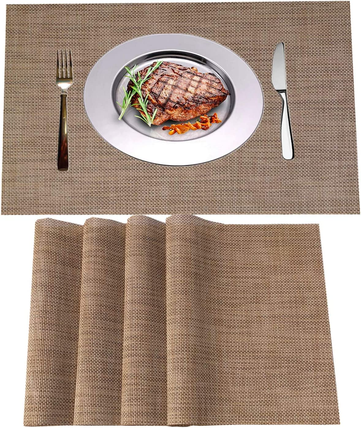 WANGCHAO Placemats Set of 8 Heat Insulation Stain Resistant Placemat for Dining Table Durable Crossweave Woven Vinyl Kitchen Table Mats Placemat (Linen, Set of 8): Home & Kitchen