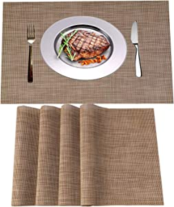 WANGCHAO Placemats Set of 4 Heat Insulation Stain Resistant Placemat for Dining Table Durable Crossweave Woven Vinyl Kitchen Table Mats Placemat (Linen, Set of 4)