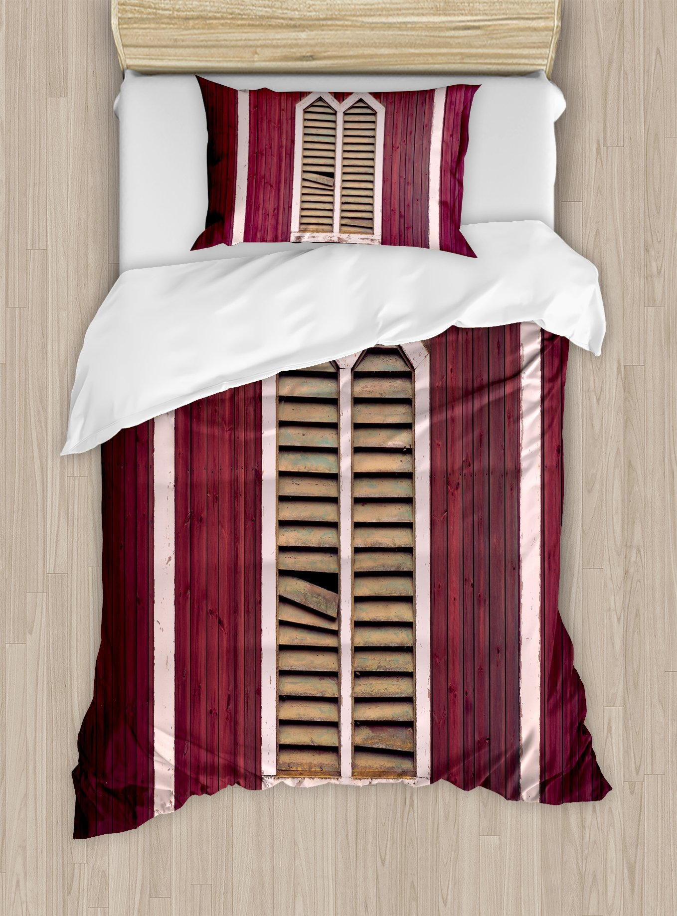 Ambesonne Shutters Duvet Cover Set Twin Size, Window Frame with Shutters on a Wooden Wall Vintage Style Artwork Print, Decorative 2 Piece Bedding Set with 1 Pillow Sham, Burgundy and Pink