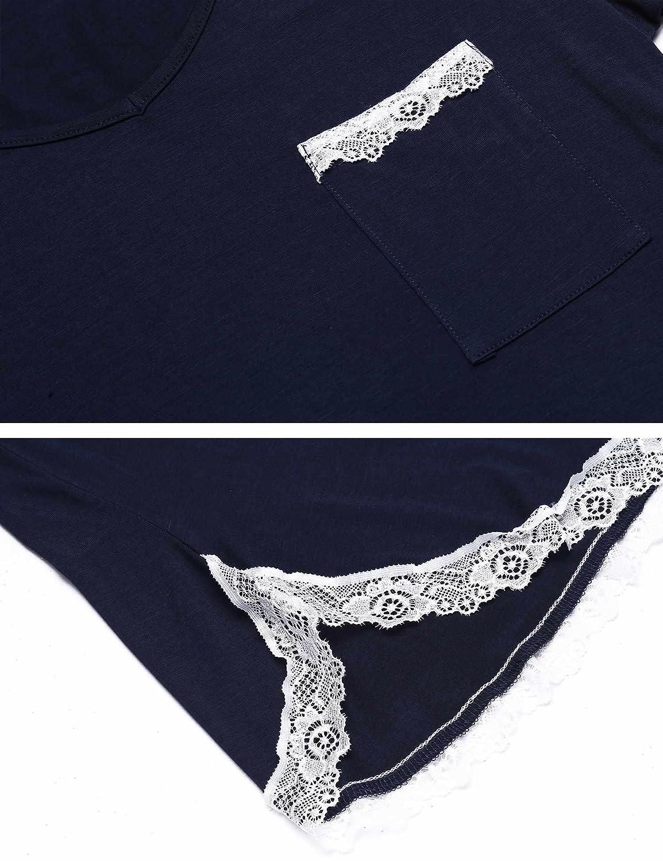 MAXMODA Chemise de Nuit Femme Pyjama Manche Courte Robe de Nuit /Ét/é Casual S-XXL