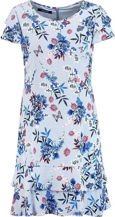 Taifun Kleid Langarm Kurz Blumchenkleid Mit Volants Pearl Blue Druck 46 Amazon De Bekleidung