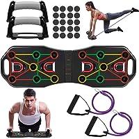Fostoy Push Up Board, 9 in 1 Body Building Rack Board Opvouwbaar met weerstandsbanden, multifunctionele drukbord…