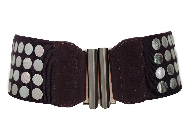 TFJ Women Wide Elastic Fashion Belt Hip High Waist Silver Metal Studs Dark Purple S M