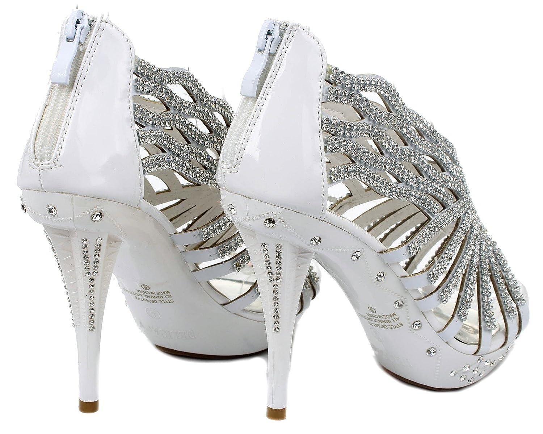 Delicacy Decent76 Dazzling Strappy Rhinestone Wave Cut Out Strappy Dazzling Evening Dress High Heel Pump Sandals B00W4WYO54 5 B(M) US|White 1ef955
