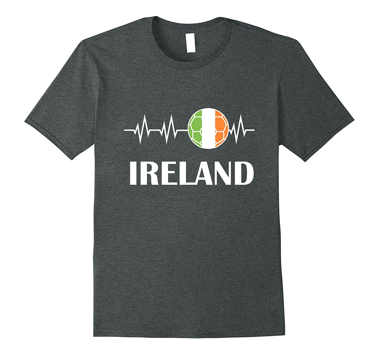 Soccer Heartbeat T-Shirt I Love Ireland Flag Futbol Shirt-Loveshirt