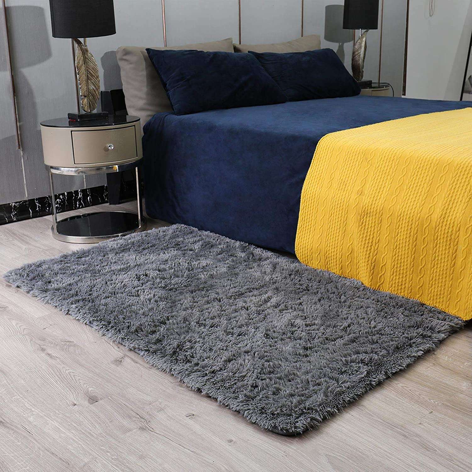 Ophanie Ultra Soft Fluffy Area Rugs for Bedroom, Luxury Shag Rug Faux Fur Non-Slip Floor Carpet for Living Room, Kids Room, Baby Room, Girls Room, and Nursery - Modern Home Decor, 3x5 Feet Grey