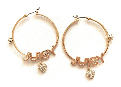 02eae673d4c5f Amazon.com: Juicy Couture Goldtone Hoop Earrings - J U I C Y with ...