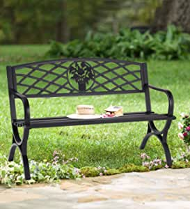 """50"""" Patio Garden Bench - Outdoor 2-Person Metal Seating Cast Iron Loveseats Park Yard Furniture Decor with Floral Pattern"""