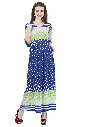 5e2c03856b117 MomToBe Women's Rayon Midnight Blue & Harlequin Green Maternity Dress:  Amazon.in: Clothing & Accessories