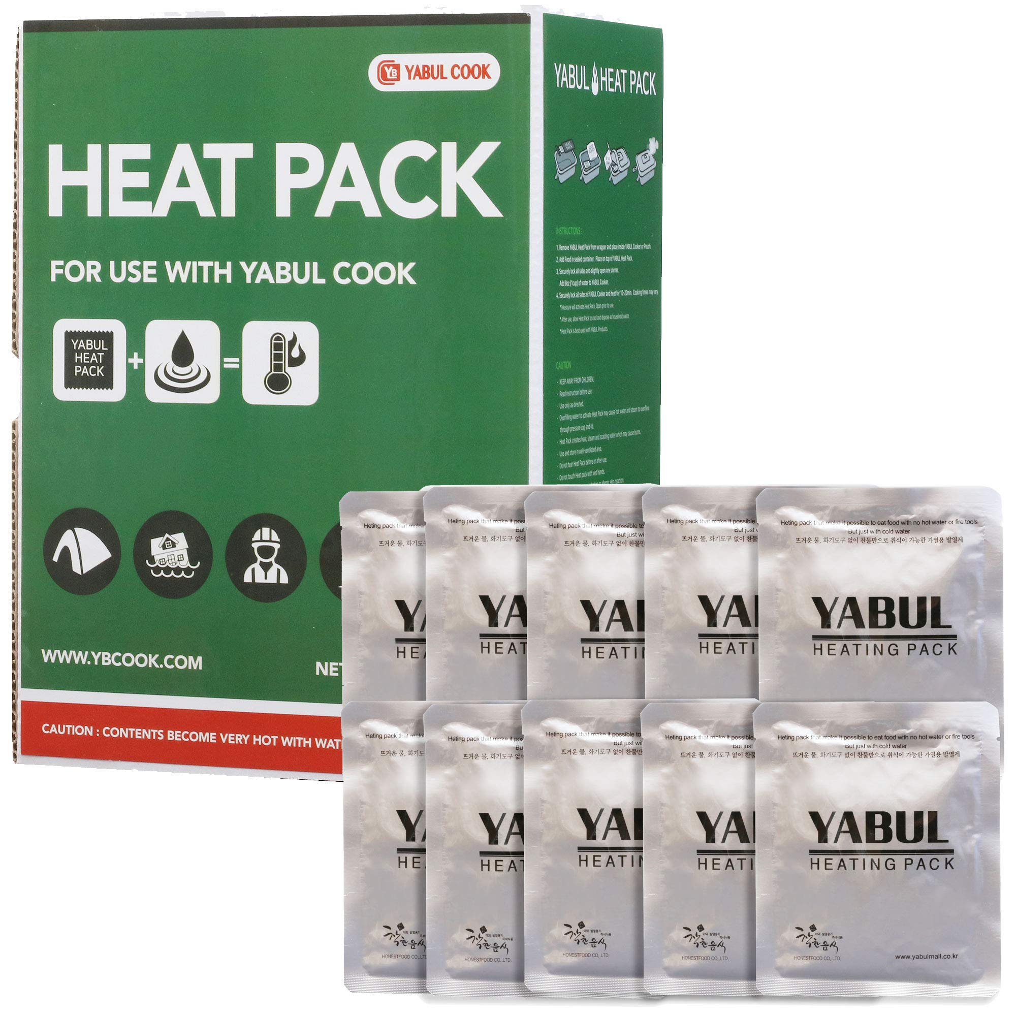 Yabul Large 80g Flameless Heater Heating Pack Set for Yabul Cooker - Safe Fuel to Heat Warm MRE Rations, Camping Foods Fast Anytime without Fire (Pack of 10) by Yabul
