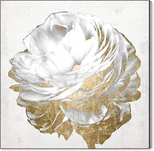 Oliver Gal 'Gold and Light Floral White' The Floral and Botanical Wall Art Decor Collection Modern Premium Canvas Art Print