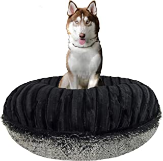 product image for BESSIE AND BARNIE Signature Black Puma/Midnight Frost Luxury Shag Extra Plush Faux Fur Bagel Pet/Dog Bed (Multiple Sizes)