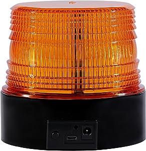 Wireless Led Strobe Light, Amber Emergency Magnetic Flashing Warning Beacon for Truck Vehicle with 12-80v Cigarette Lighter Plug