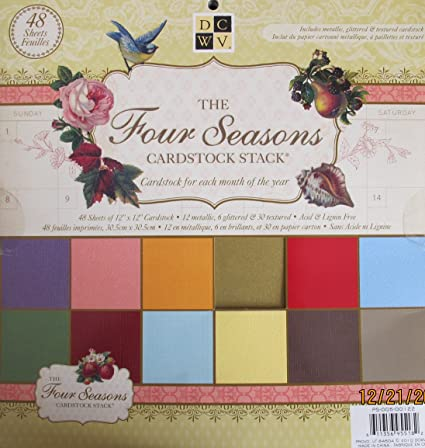 amazon com dcwv the four seasons cardstock stack pad of 48 sheets
