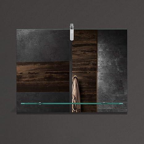 VON ADELBERG Wandspiegel Badezimmer Badspiegel Spiegel mit Glasablage und  LED Beleuchtung, Spiegel Modell:667561/57, Beleuchtung:W160 Lampe