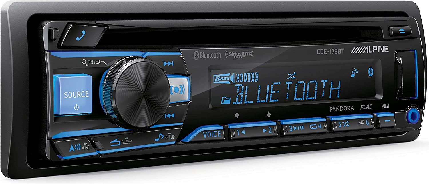 and iOS-8 Car Stereo Receiver HD Radio Built-in//Free ALPHASONIK Earbuds Alpine CDE-175BT Single DIN Bluetooth in-Dash CD Front USB /& Auxiliary MP3 ID3 Tag AM//FM SiriusXM Ready Apple iPhone 6//6