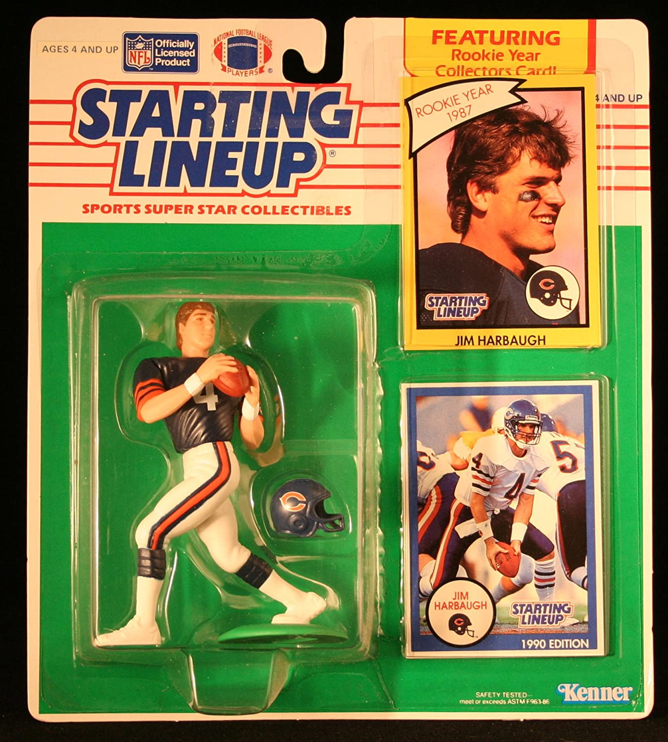 JIM HARBAUGH / CHICAGO BEARS 1990 NFL Starting Lineup Action Figure & 2 Exclusive NFL Collector Trading Cards