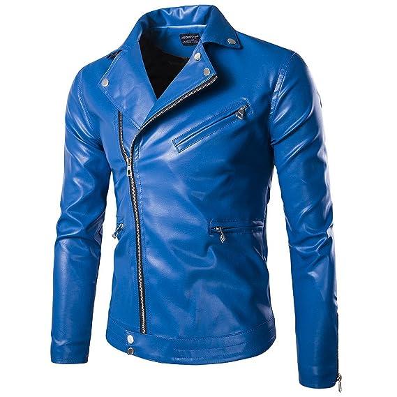 fa22292faf7e4 Elonglin Homme Veste de Moto en Simili Cuir Blouson Motard Imitation Cuir  Zippé Col Cassé Imperméable
