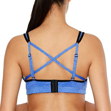 8ca8643655f3e CharmLeaks Women Light Support Strappy Cross Back Sports Bra Wirefree  Workout Active Yoga Gym Sportswear  Amazon.co.uk  Clothing