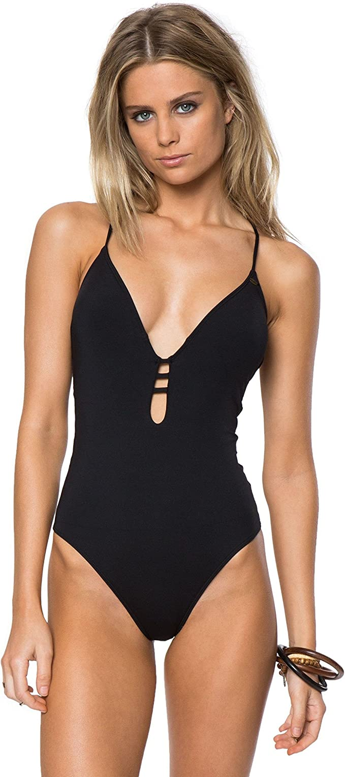 ONEILL Womens Salt Water Solids Hi-Neck One Piece Swimsuit L Black