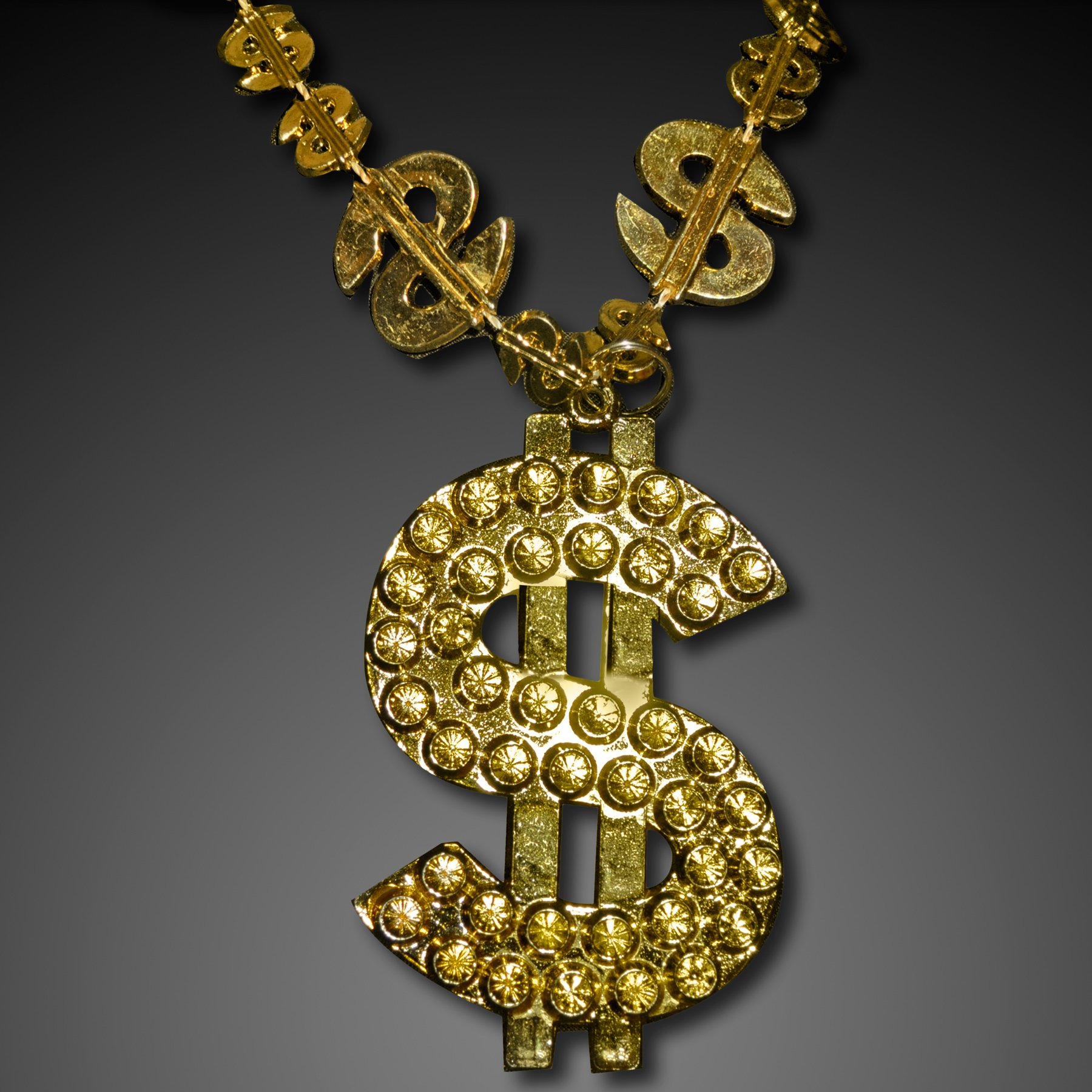 FlashingBlinkyLights Gold Big Bling Dollar Sign Novelty Necklace (Set of 48)