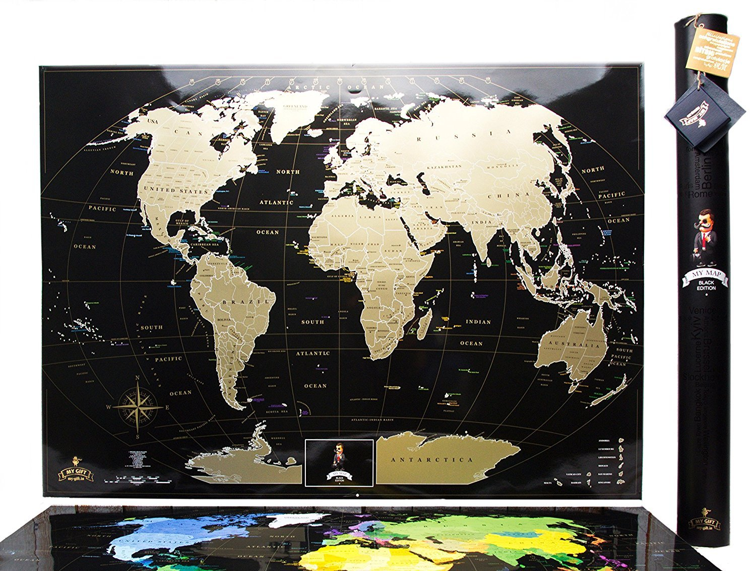 MyMap Deluxe Gold Black World Scratch Off Map W Large US States - Large us road map poster