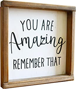 LIVDUCOT You are Amazing Remember That Wood Wall Decor Wooden Framed Modern Farmhouse Wall Hanging Art Rustic Wall Art Signs with Quote 8 x 8 inches