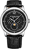 Stuhrling Original Mens MoonPhase Dress Watch - Stainless Steel Case and Leather Band - Analog Dial with Day of The Week and Date Celestia Mens Watches Collection