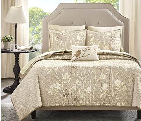 Amazon.com: 8 Piece Floral Tree Branches Design Coverlet Set King ...