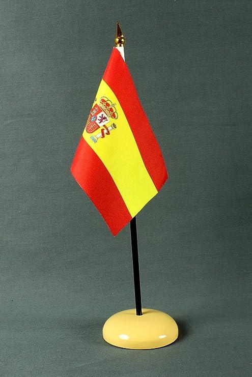 Bandera de España de 15 x 10 cm (B) fahnenmax con pie de soporte de poliéster beige, muy soporte fijo: Amazon.es: Deportes y aire libre