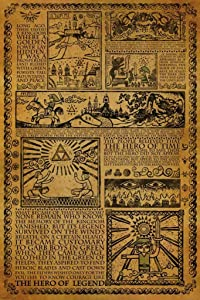 Pyramid America Zelda Story of The Hero Time Legend Mythology Timeline Video Game Gamer Cool Wall Decor Art Print Poster 24x36