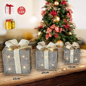 Weihnachtsdeko Geschenke.Cclife 3er Set Geschenkbox Mit 50 Led Weihnachtenbox Beleuchtete Lichterkette Geschenke Weihnachtsdeko Farbe Silber Beige