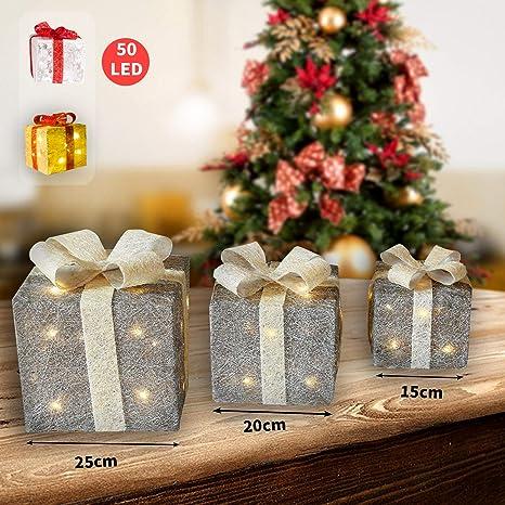 CCLIFE 3 cajas de regalo decorativas con luz LED,cajas preiluminadas para decoración navideña,