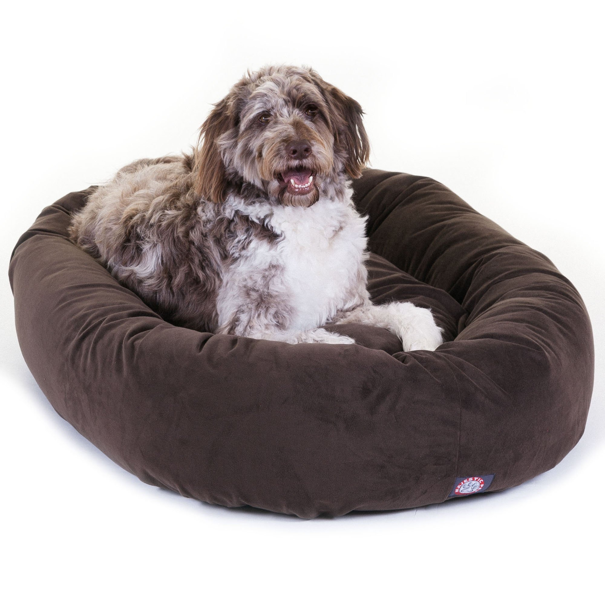 Majestic Pet 40 inch Chocolate Suede Bagel Dog Bed By Products by Majestic Pet (Image #1)