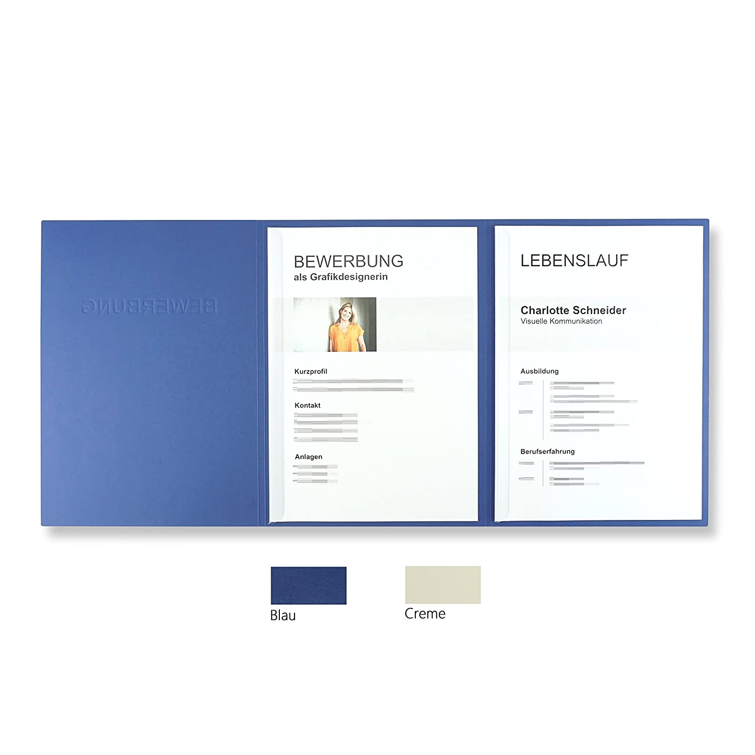 'Pack of 5 3-Part CV Folders Blue With 2 Slide Binders in Leather-Look//with 5 Envelope in White – High Quality Embossed Text