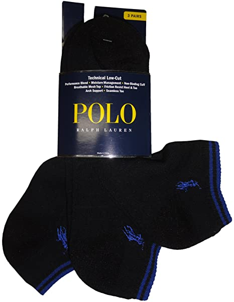 99f3d28bd3fa Polo Ralph Lauren mens socks Tech Ped low cut black 3pairs at Amazon Men's  Clothing store: