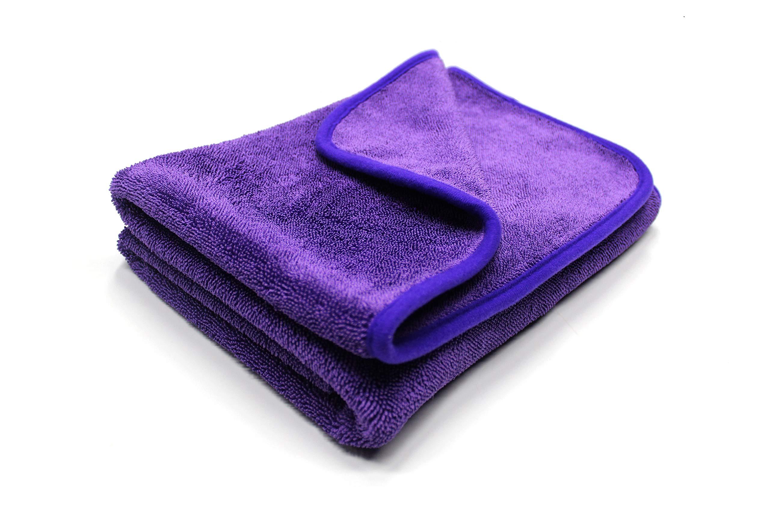 ShineMaster Maxshine 1200GSM Microfiber Duo Twisted Drying Towel for Car Detailing, Purple, 60x90cm
