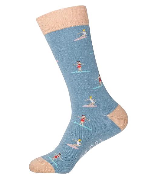 BAYRREL - Calcetines divertidos de algodón peinado para hombre y mujer - - Modelo Surfers: Amazon.es: Ropa y accesorios