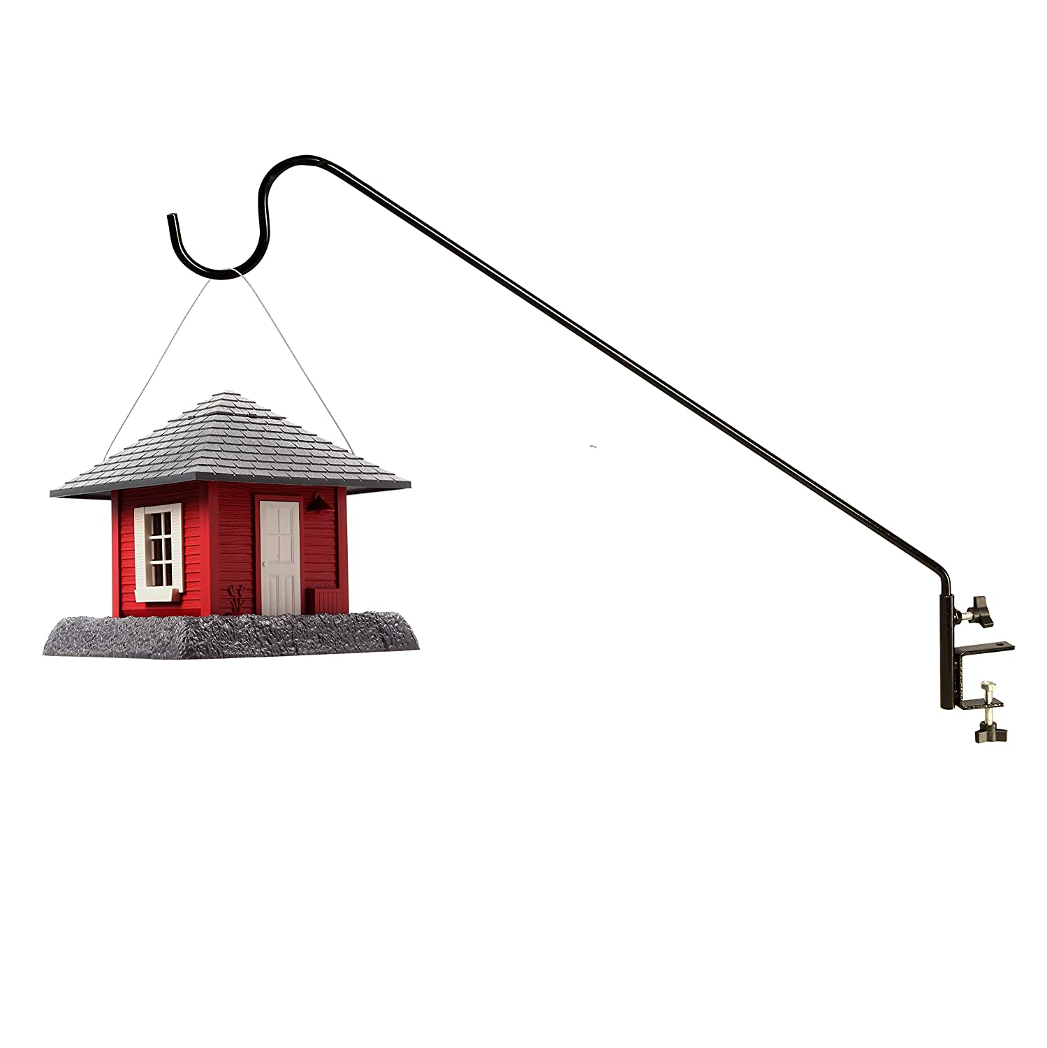 Ashman 12MM Black Deck Hook Humming Bird Feeders attaches to Deck Railing Super Strong with 37-Inch Length and Ideal for Bird Feeders Plant Hangers Hanging Baskets Made of Premium Metal
