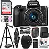 Canon EOS M50 Mirrorless Digital Camera with EF-M 15-45mm Lens (Black) and 64GB SD Card + Deluxe Photo Travel Bundle